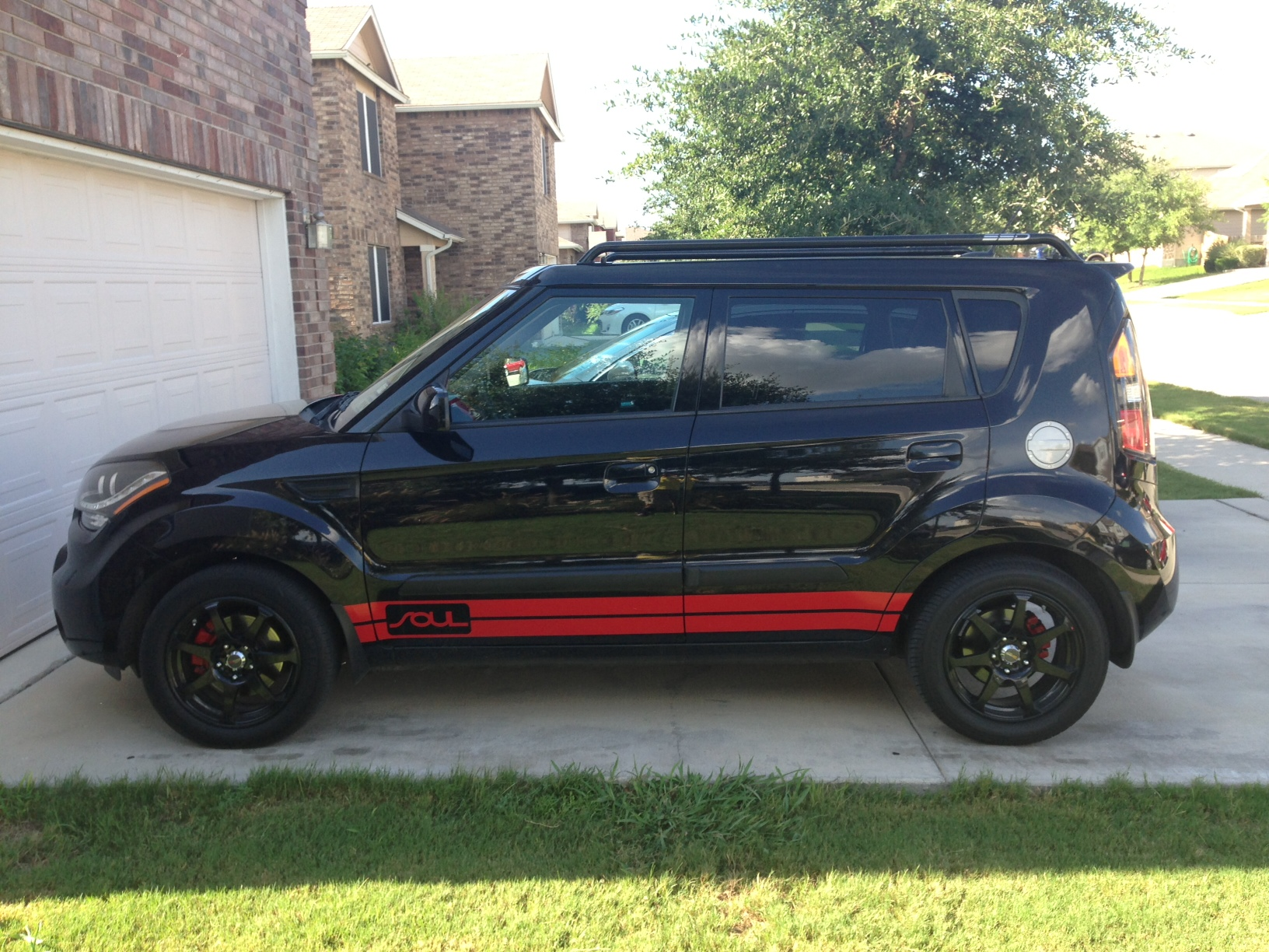 Black Soul With Red Burner Grille Rally Stripe s