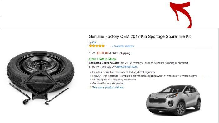 Spare tire kit for Kia Sportage